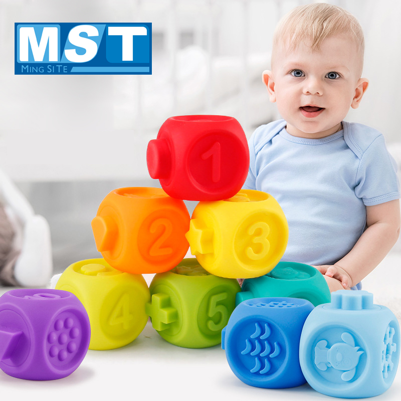 10 PCS Baby Toys Educational Soft Rubber Building Blocks Massage Squeeze Bath Toys Kids Hand Grasp 3D Hanging Ball For Babies