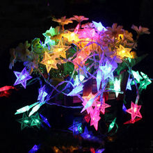 Christmas-Lamp Light-String Garlands Battery-Powered Wedding-Decor Twinkle Star Holiday