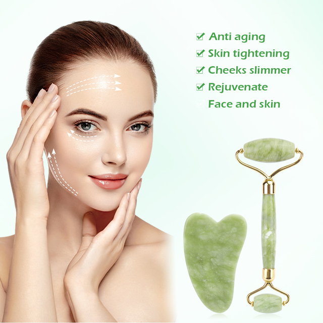 Natural Xiuyu Facial Massage Roller Guasha Scraping Board Set Double Heads Jade Stone Face Lift Body Slim Neck Thin Lift Tools 2
