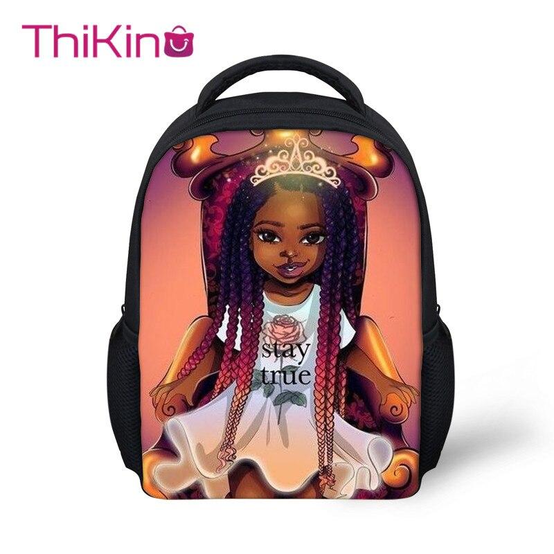 Thikin Afro Baby Girl School Backpack For Kids Boys Cartoon Storage Schoolbag Children  Girls Cute Shoulder Bags Travel Mochila