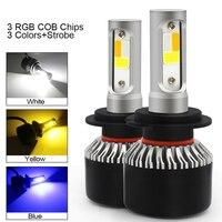 2PCS Auto Led Scheinwerfer Lampen Canbus H7 H1 Led-leuchten H4 H8 H11 HB3 9005 HB4 9006 H13 H3 9007 Auto Nebel Lampe 12V 3 Farben Strobe