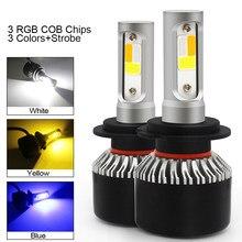 2PCS Car Led Headlight Bulbs Canbus H7 H1 LED Lights H4 H8 H11 HB3 9005 HB4 9006 H13 H3 9007 Auto Fog Lamp 12V 3 Colors Strobe