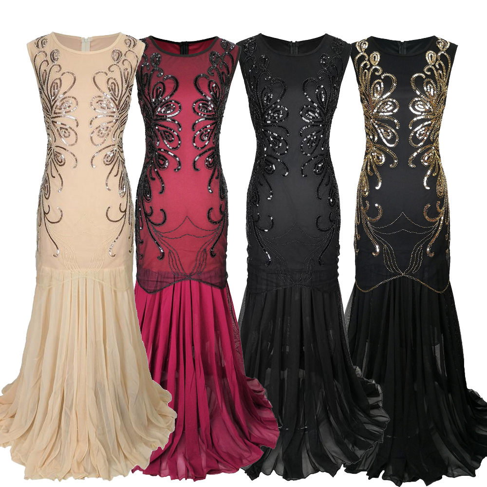 1920s Tulle Evening Dress Beaded Embroidery Retro Floor-length Chiffon Prom Gown O-neck Mermaid Great Gatsby Party Dress