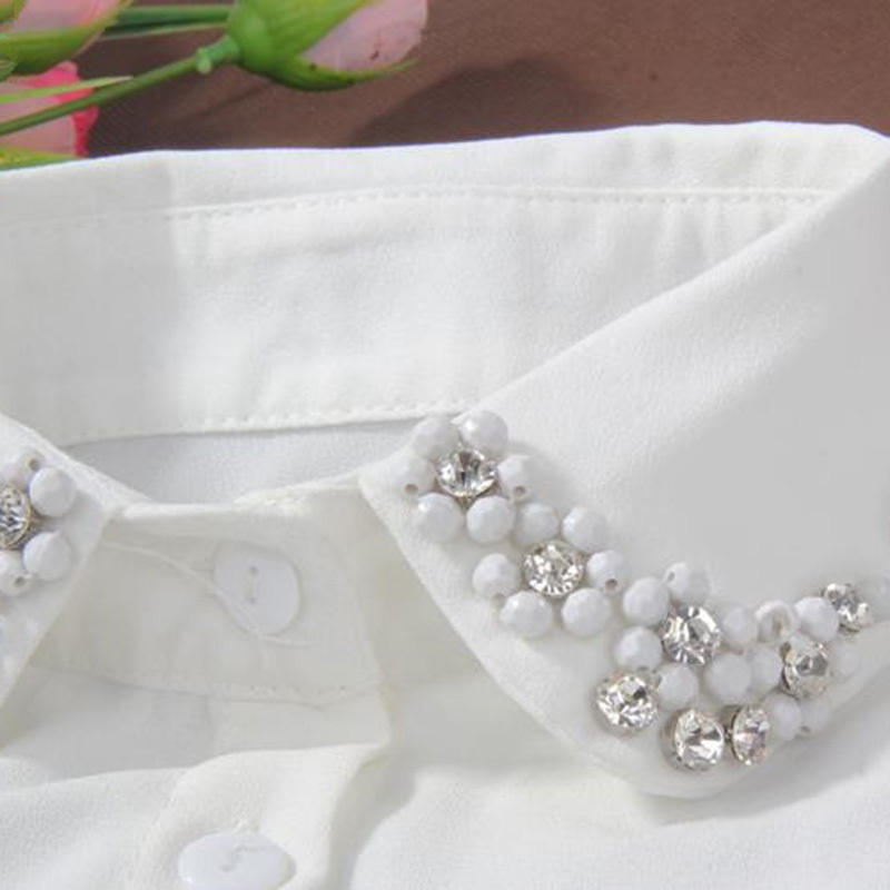 Women Tie Half Shirt Detachable Female Blouse Fake Collar Top Beading Rhinestone Sequins Detachable Collar Chirstmas Gifts