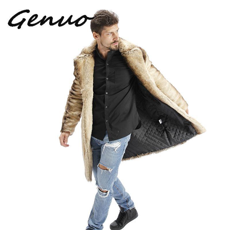 2019 Hot Men Suit Collar Faux High Quality Rabbit Fur Leather Jacket Winter Warm Turn-down Collar Luxury Mink Fur Mens Fur Coat