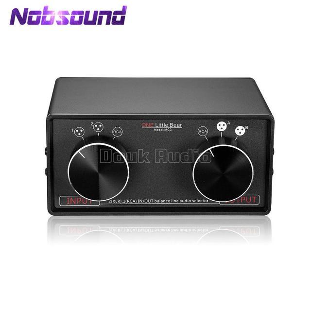 Nobsound 3 ב 3 החוצה XLR מאוזן/RCA סטריאו ממיר אודיו בורר תיבת פסיבי Preamp עבור בית מגבר