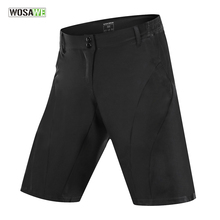 WOSAWE Men's Outdoor Sports Cycling Shorts MTB Downhill Trousers Mountain Bike Bicycle Shorts Water Resistant Loose Fit Black