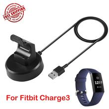 Input 5V 0.5A 1A USB Data and Charging Dock Charger Station For Fit bit Charge 3 Black 100cm with Chip Protection
