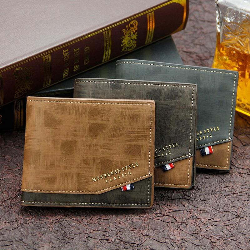 Men's Wallet Money Bag Solid Color Leather Business Short Wallet Famous Vintage Male Walltes Purse Coin Purse