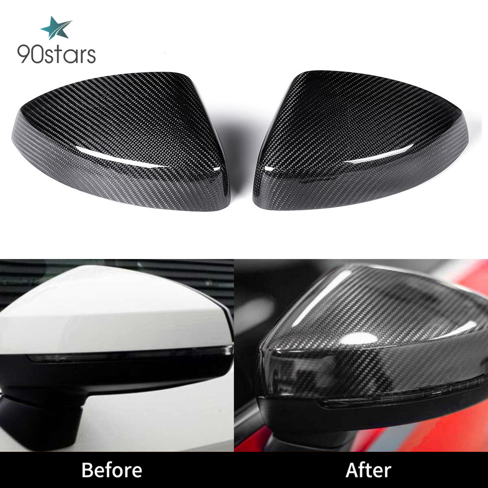 For Audi RS3 A3 8V S3 Carbon Mirror Cover Rear View With & Without Lane Side Assist Replacement Gloss Black 2014-2017 2018 2019 image