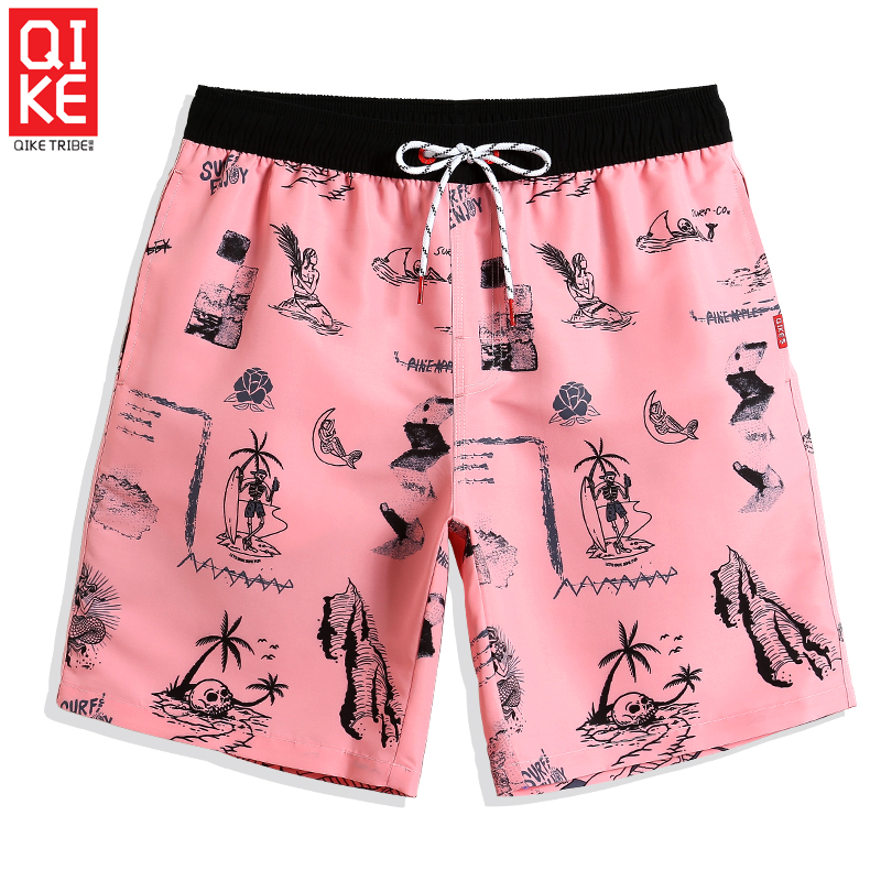 Board     shorts   New Bathing suit for men Pink printed joggers quick dry surfing sexy briefs sport de bain homme plus size Mesh