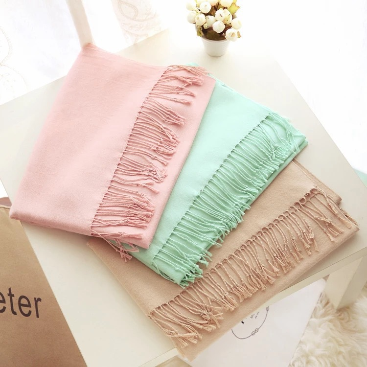 Summer Air Conditioner Shawl Classic Solid Color Faux Cashmere Tassels Scarf Autumn & Winter Warm Versatile Solid Color Scarf