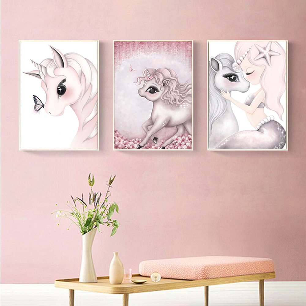 Pink Unicorn Girl  Babi Nordic Poster Painting Wall Posters And Prints Nursery Wall Painting Wall Pictures Girls Baby Room Decor