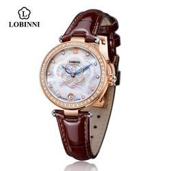 LOBINNI, швейцарские роскошные Брендовые женские механические Автоматические сапфировые часы, женские модные импортеры, водонепроницаемые ча...