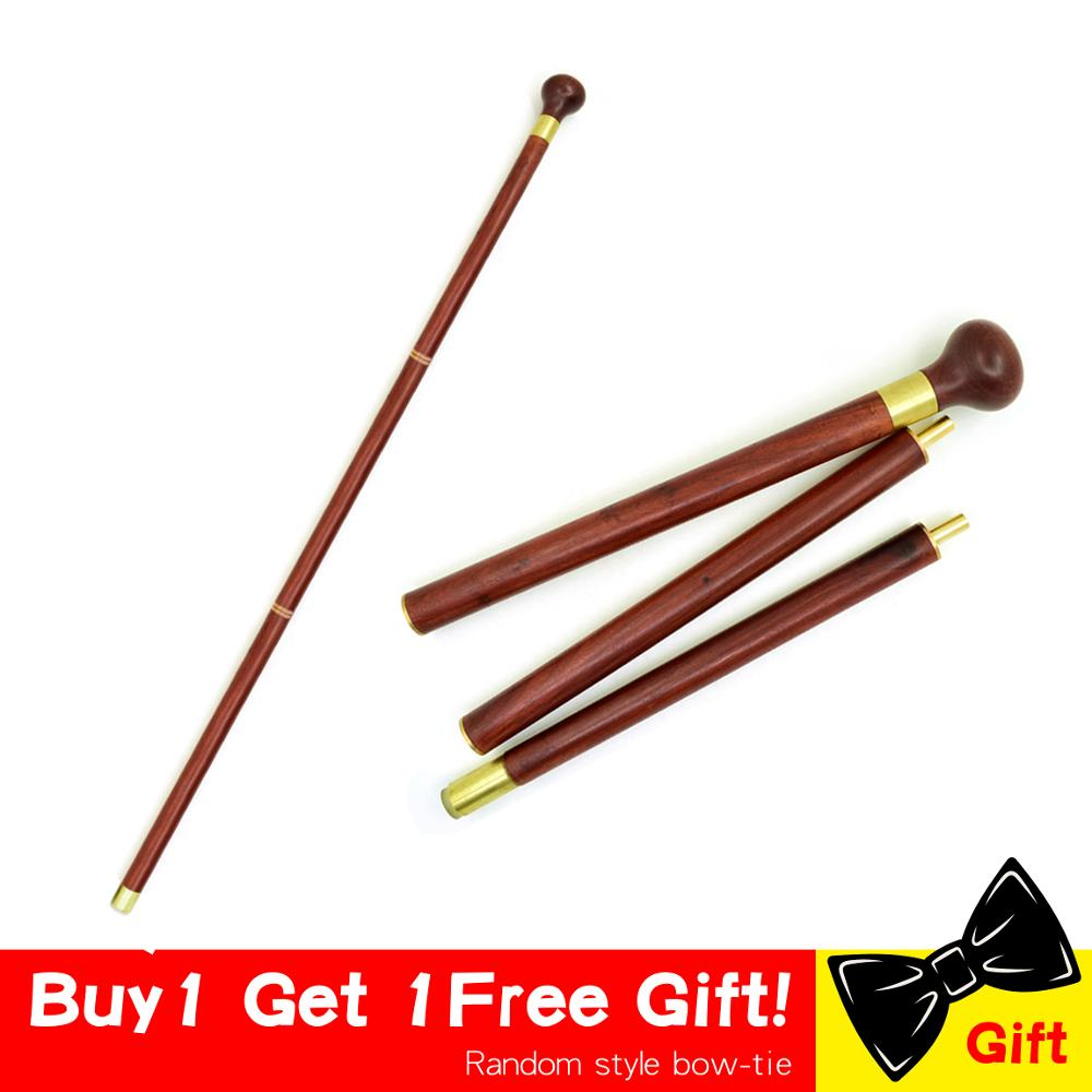 Vintage Wood Walking Stick Cane Wooden Wood Round Head Canes 3-Sections Foldable Gentle Travel Walking Gentleman Stick Portable