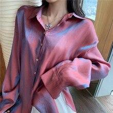 Summer Fashion Harajuku Shirts Women Gradient Blouse Loose Long Sleeve Tops And Ladies Blusas Mujer De Moda