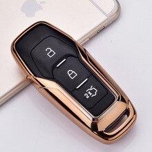 علبة مفاتيح السيارة الذكية عن بعد السيارة واقية مفتاح الجلد قذيفة غطاء للفورد حافة مونديو موستانج لفورد مفاتيح المفاتيح