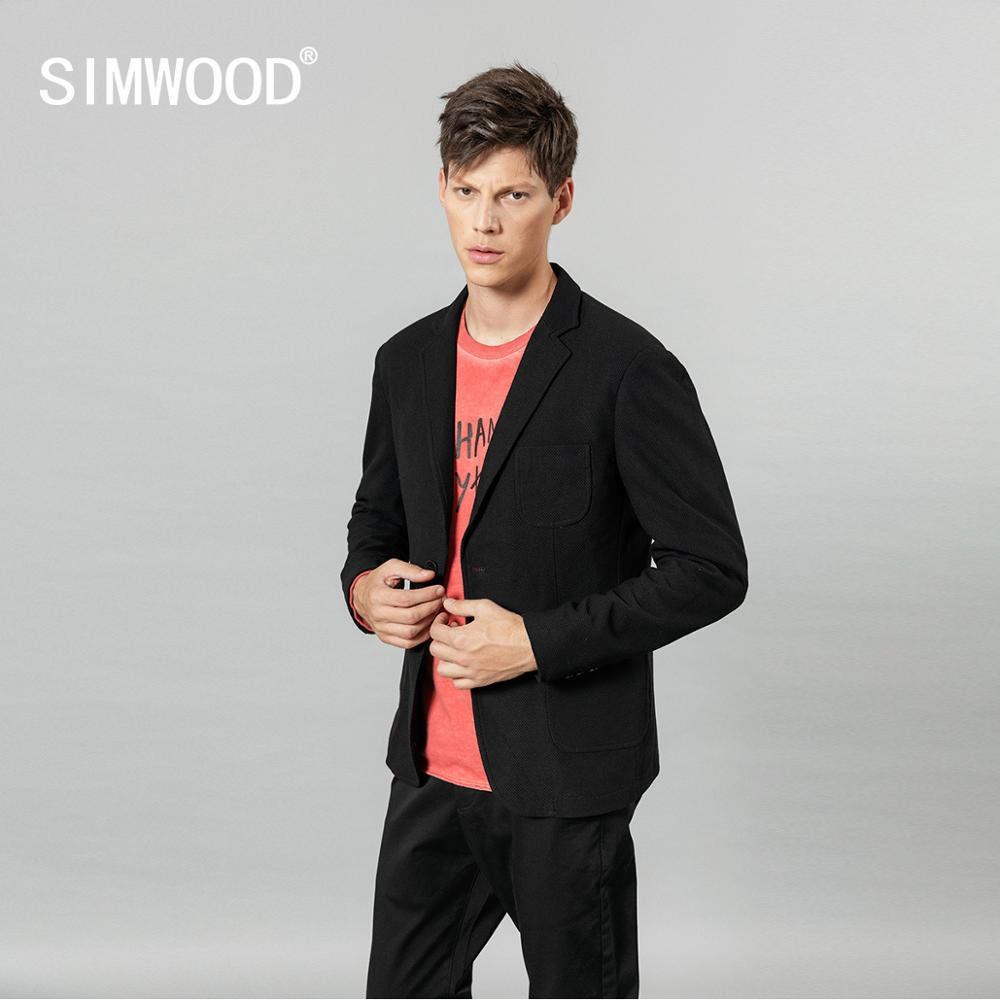 Simwood 2020 Spring Winter Waffle Plaid Blazers Men Smart Casual Suits Single Button Jacket Slim Fit Coats SI980666