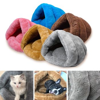 S/L Soft Fleece Winter Warm Pet Dog Bed Small Dog Cat Sleeping Bag Puppy Cave Bed Small Large Cat Nest Pet House Perros ^o^ image