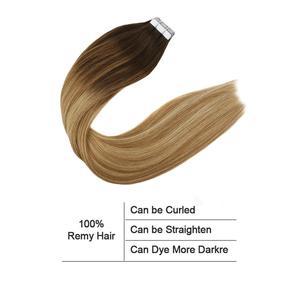 Image 3 - Горячая Распродажа балаяж, наращивание волос, лента из человеческих волос в машине, Реми, бразильский цвет Омбре, коричневый, светлый, двусторонний клей