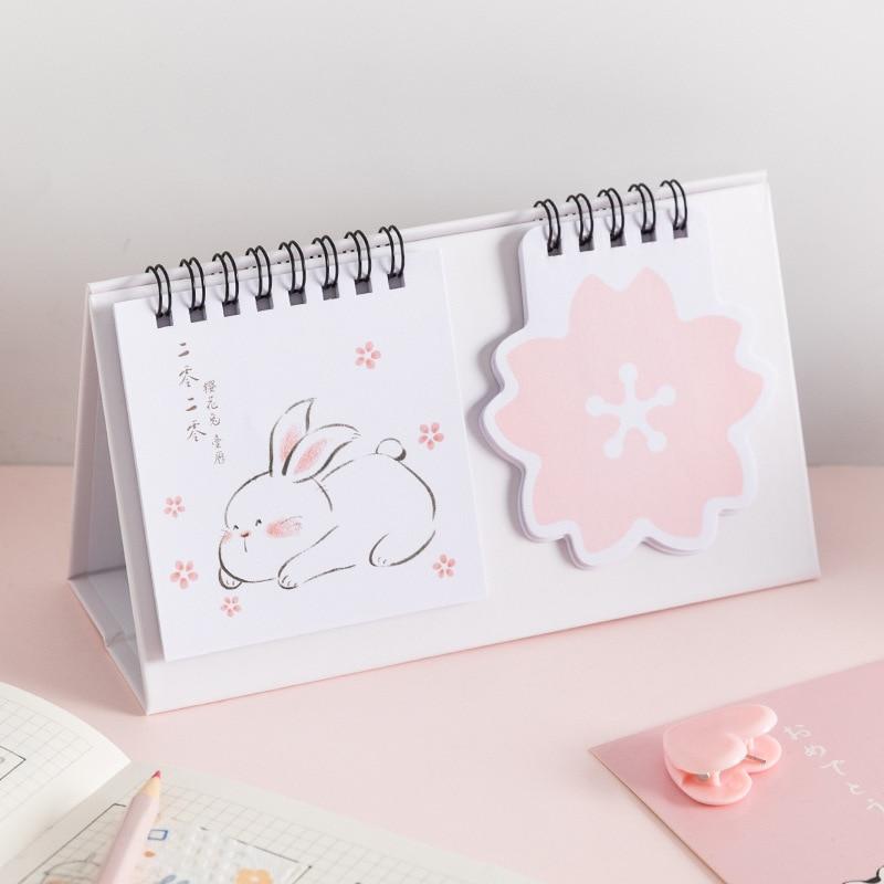 2020 Cute Sakura Rabbit Coil Calendar Multi Function Memo Pad Desk Calendar Agenda Organizer 2019.11~2020.12