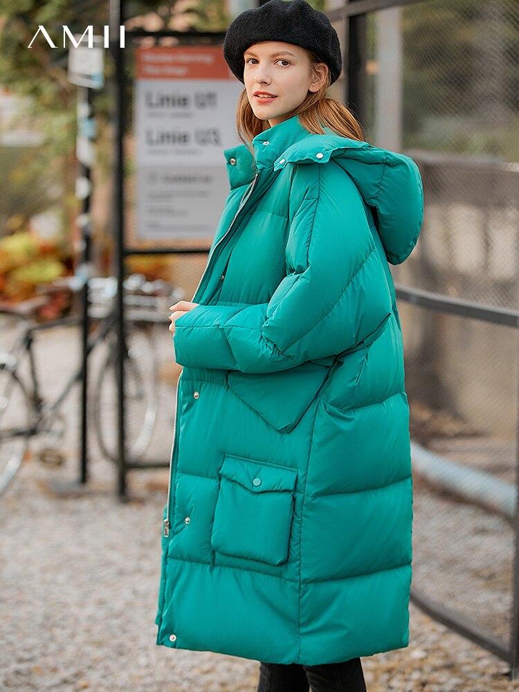 Amii Korean Women Down Jacket Women Winter Fashion Loose Solid Hooded Thick Mid Long Coat Female Down Coat 11940499
