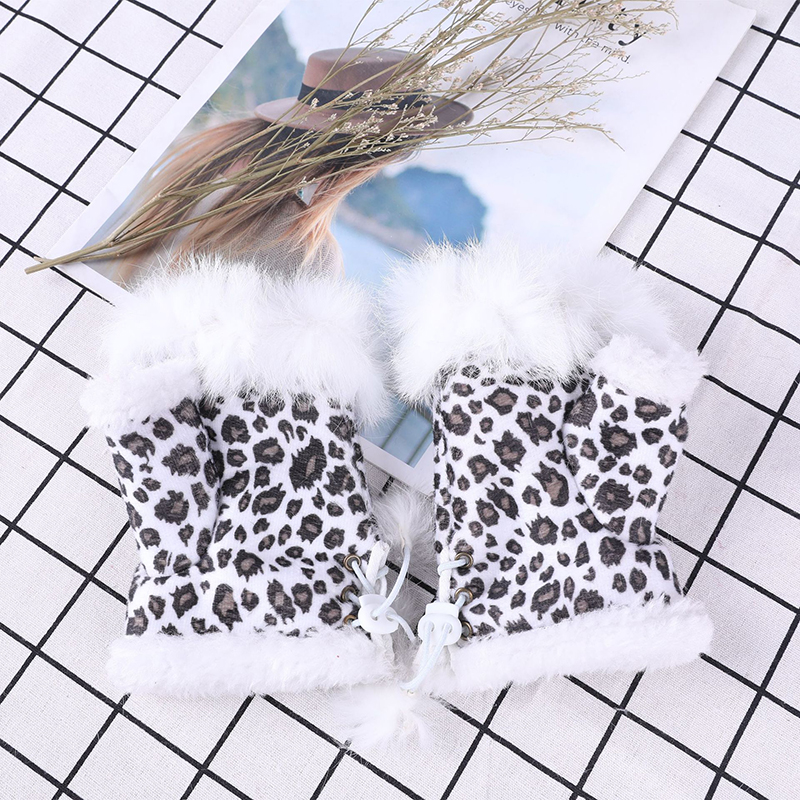 New Womens Plus Velvet Warm Rabbit Fur Gloves Fashion Leopard And Solid Colors Fleece Half Finger Gloves