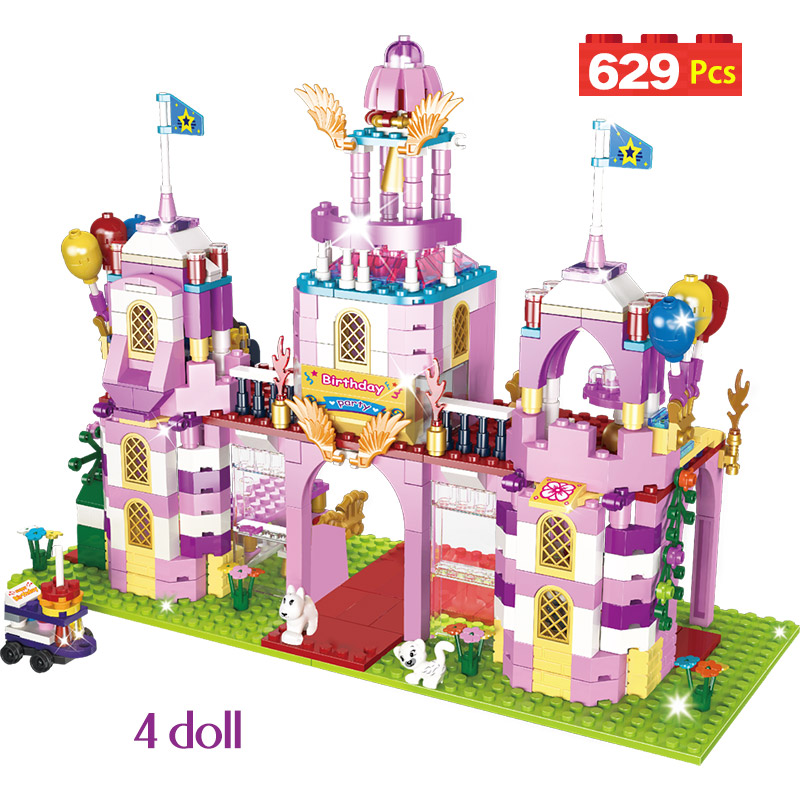 629pcs Romantic Castle Princess Building Blocks DIY Model Legoinlgy Friends Birthday Party Bricks Sets Toys For Girls Kids