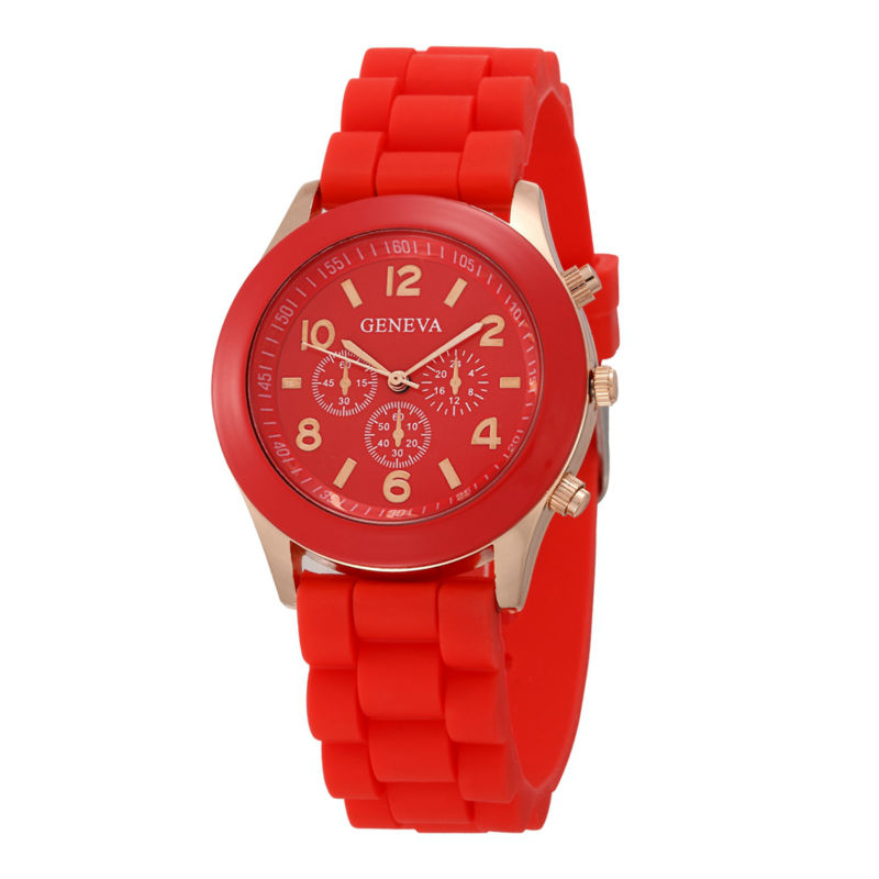 Geneva Brand Candy-colored Silicone Strap Round Watches Hot Women Girl Ladies Dress Jelly Quartz Wrist Watch  Color  Watches