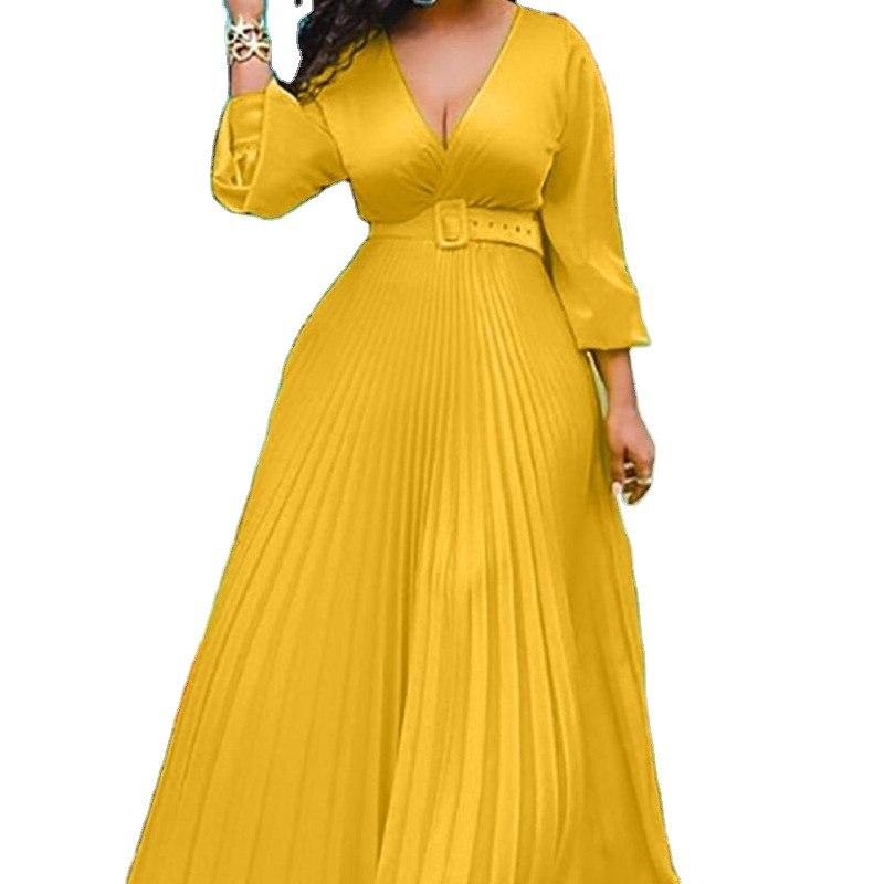Maxi abiti di compleanno per il vestito dall'annata Chiffon elegante a vita alta della manica lunga del vestito pieghettato partito delle donne Dropshipping all'ingrosso