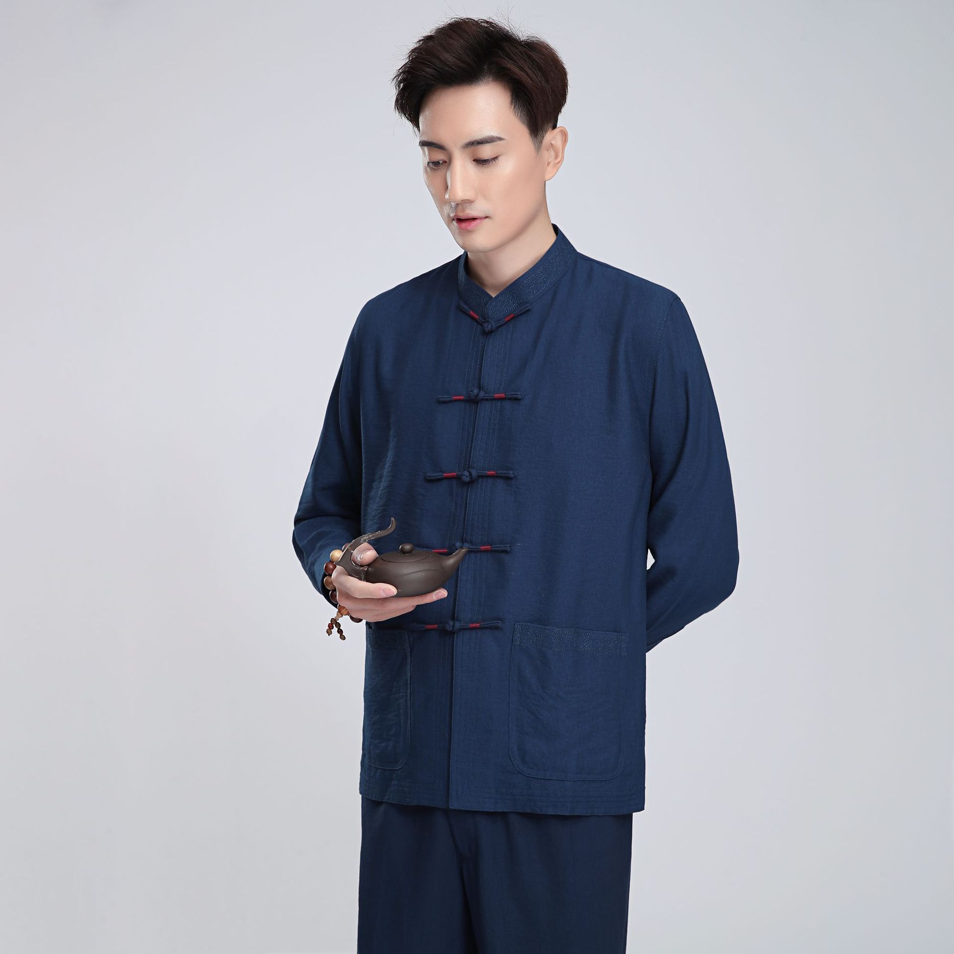 Plus Size Chinese Style Mens Tops Tang Suit Traditional Kung Fu China Style Hanfu Shirt Linen Long Sleeve Solid Tang Colthing image