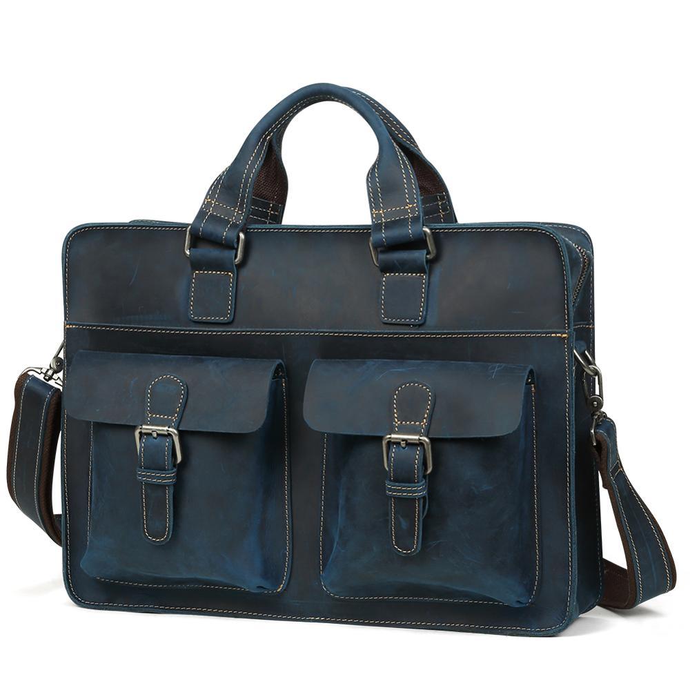 JOGUJOS, Ретро стиль, Crazy Horse, кожаный мужской портфель, натуральная кожа, мужской портфель, Кроссбоди, сумка на плечо, бизнес, Офисная сумка - 4