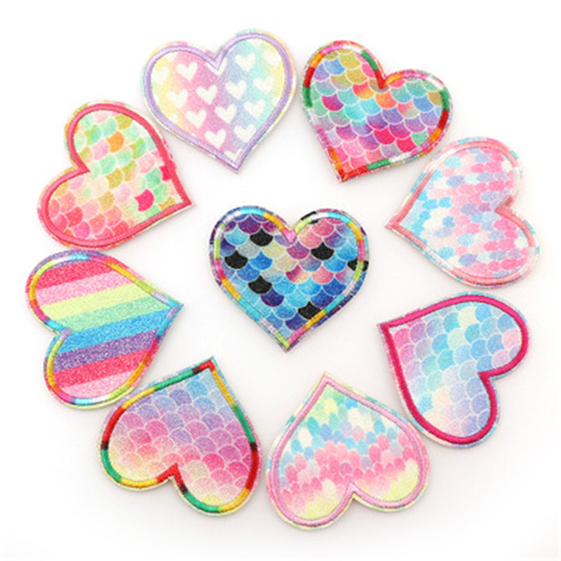 Colorful Gradient Love Cloth Stickers Exquisite Embroidery Patch Bag Hat Clothing Accessories Manual DIY Supplies