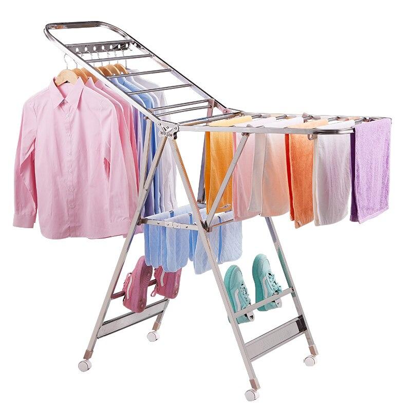 Edelstahl Kleidung Trocknen Rack, Innen Kleidung Trocknen Rack, Balkon, Kleiderbügel, Einfache Kleidung Trocknen Towe - 5