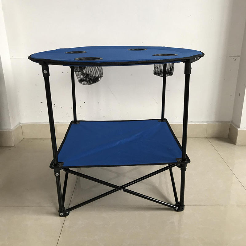 Portable Table Foldable Folding Camping Desk Traveling 2 Layers New Black Blue Outdoor Picnic Light Desk