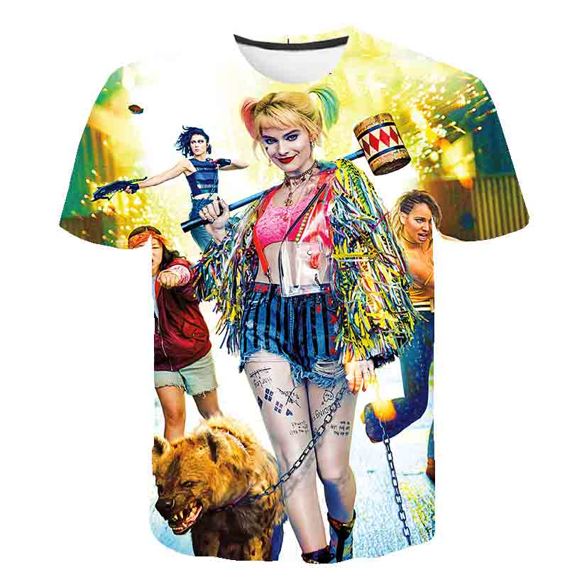 Summer Harley Quinn T-shirt Suicide Squad T-shirt Boys Clothes Monster Cosplay Costume Top Tee Shirt For Child Anime Streetwear