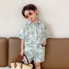 2-9T Summer Floral Beach Boy Print Clothes Set Toddler Kid Short Sleeve Shirt Top and Shots set Fashion Playa Vacation Outfit