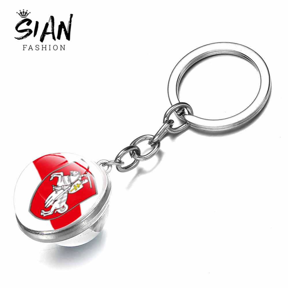 SIAN Republic of Belarus Keychain Double Side Photo Glass Cabochon Time Gem White Knight Pagonya Keychains Metal Key Chain Gifts