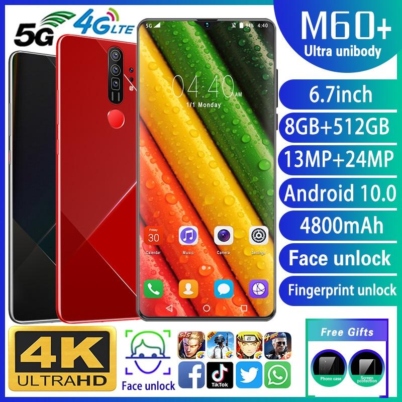 Smartphone M60+ Phones MTK6799 Deca Core 6.7inch HD Mobile Phone 1440*3040 Unlocked Smartphone 8GB+512GB Camera 13MP+24MP