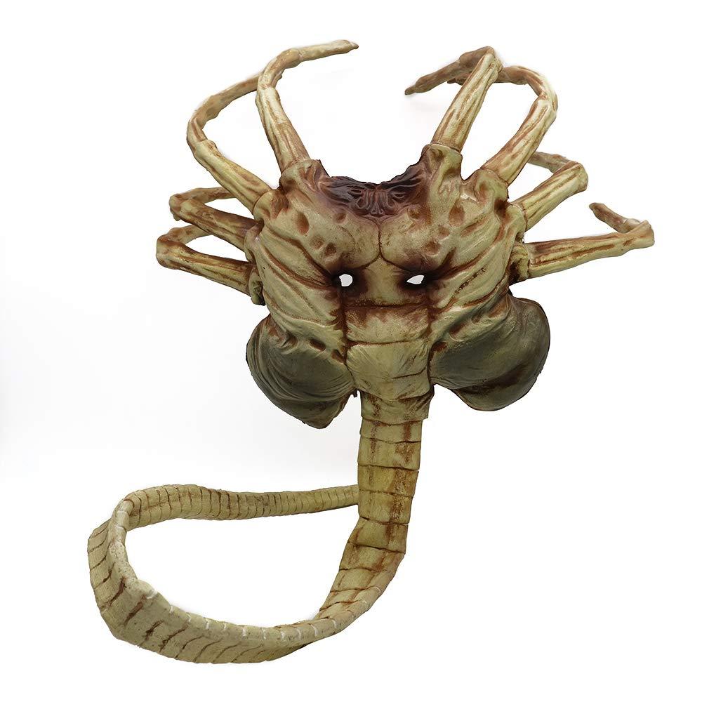 Máscara de Alien Facehugger, disfraz de Xenomorph Hugger, accesorio de Halloween, garras de látex aterradoras, insectos