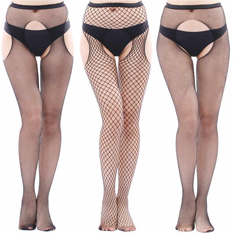 Vrouwen Panty Open Kruis Sexy Transparante Slim Visnet Panty Club Party Black Mesh Panty Hoge Kanten Kousen
