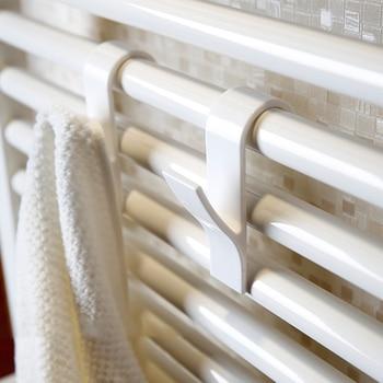 4pcs Bath Hook Holder Clothes Hanger Heated Towel Radiator Storage Rack Bath Hook Family Robe Hanging Hooks Hats Bag Wall Hanger 2