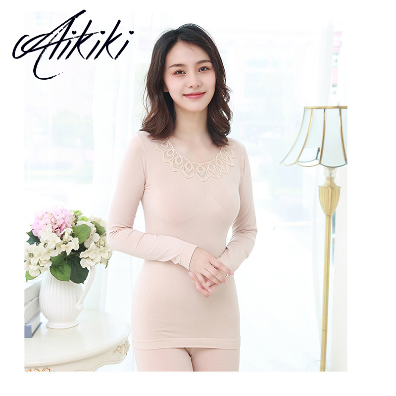 New O-Neck Embroidery Women's Seamless Thermal Underwear Set Slim Thin Lace Female Winter Clothes