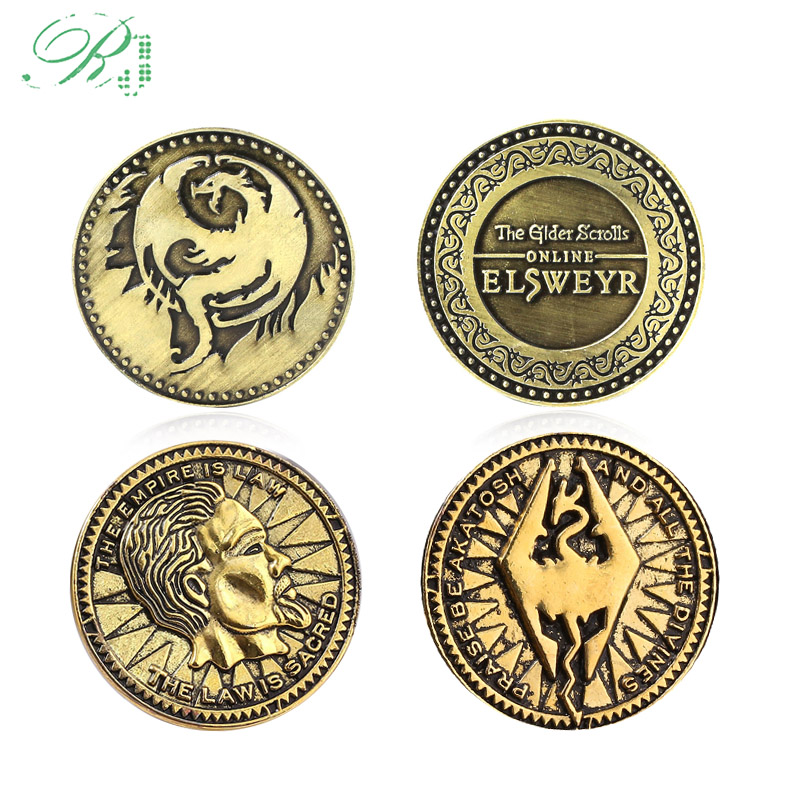 RJ The Elder Scrolls Online Elsweyr Coin Keychain Morrowind Dinosaur Fly Dragon Keyring Men Game Souvenir Jewelry Gift