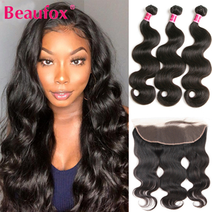 Beaufox Ear To Ear Lace Frontal Closure With Bundles Brazilian Body Wave Bundles With Frontal Closure Remy Human Hair Extension