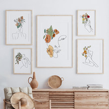 Flower Woman One Line Art Drawing Picture Nordic Canvas Painting Wall Art Minimalist Posters and Print Room Decoration No Frame