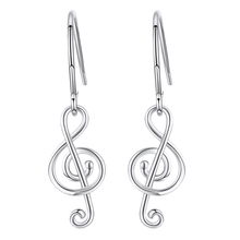 Strollgirl new 100%925 Sterling Silver Love Music Earrings Note Pendant Earrings Women 2020 Valentine Jewelry Gift Free Shipping