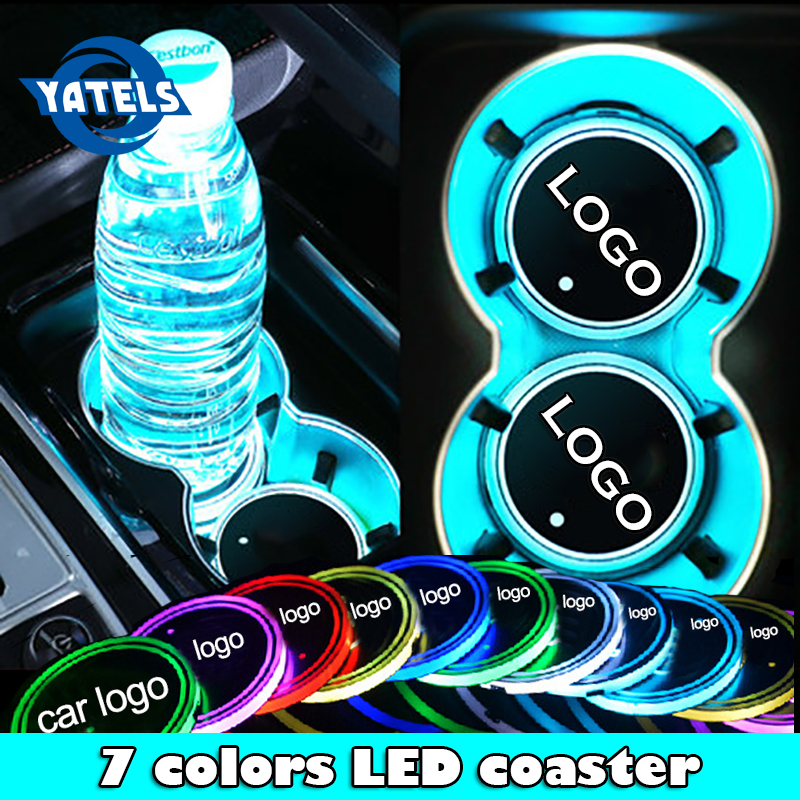1x Car Luminous Logo Light LED Cup Drink Holder Anti Slip For BMW Volkswagen Audi Ford Opel Renault Atmosphere Lamp Accessories