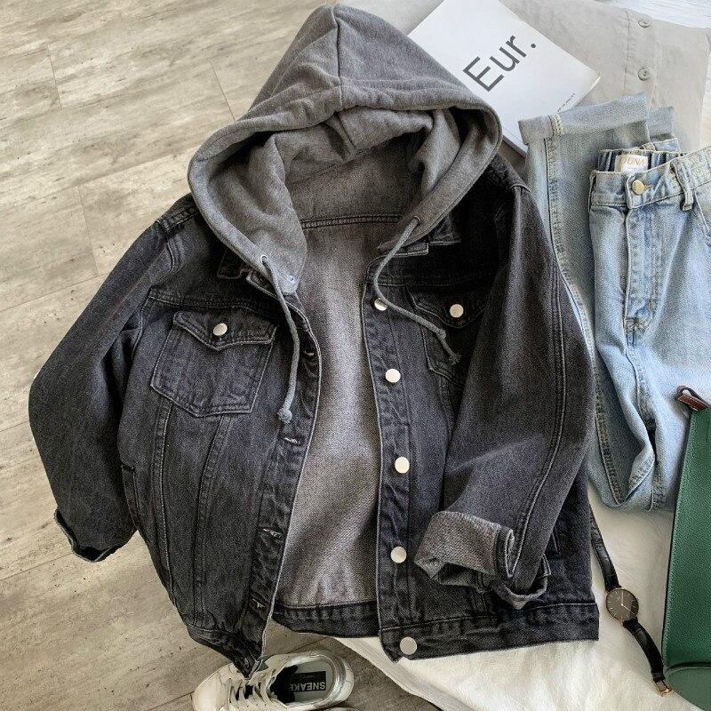 Осеннее джинсовое пальто бойфренда, стильное джинсовое пальто с капюшоном, со съемной шляпой, куртка, пальто и куртки для женщин, джинсовая куртка|Куртки|   | АлиЭкспресс