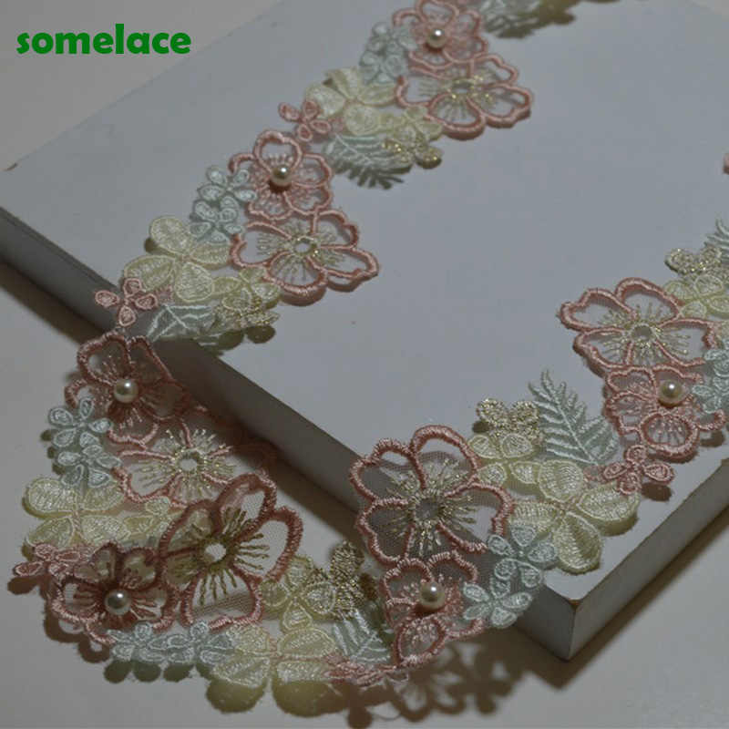1.1/'/' 2Yds//lot Ivory Pink Mixed Venise Lace Trim DIY Lace Accessories Fabrics
